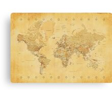 Yellow Mapping World Canvas Print