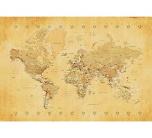 Yellow Mapping World Photographic Print