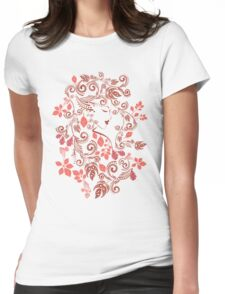 Autumn Girl with Floral 5 Womens Fitted T-Shirt