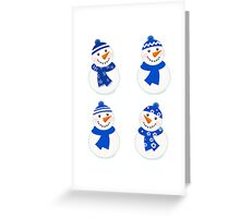 Vector cute christmas snowman - blue collection Greeting Card