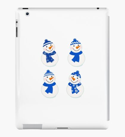Vector cute christmas snowman - blue collection iPad Case/Skin