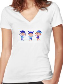 Collection of cute winter children Women's Fitted V-Neck T-Shirt
