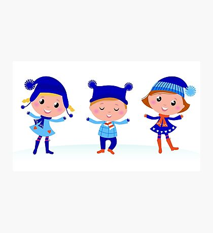 Collection of cute winter children Photographic Print