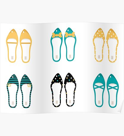 Cute Shoes collection. Vector Illustration Poster