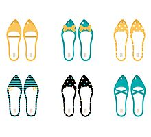 Cute Shoes collection. Vector Illustration Photographic Print