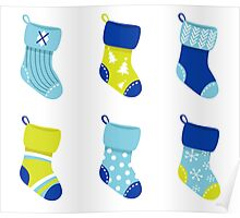 Cute Christmas Socks set - vector cartoon Illustration Poster