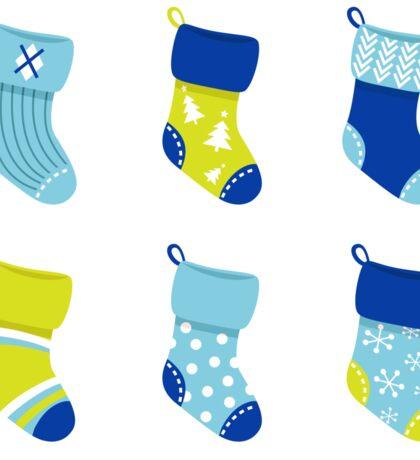 Cute Christmas Socks set - vector cartoon Illustration Sticker