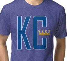 KC MONOGRAM ROYALS BLUE Tri-blend T-Shirt