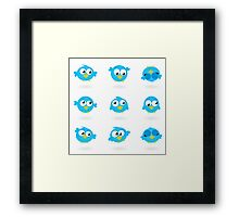 Blue funny Twitter Birds collection Framed Print