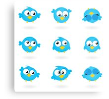 Blue funny Twitter Birds collection Metal Print