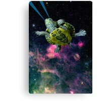 Baby Turtle swimming in space Canvas Print