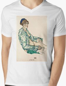 Egon Schiele - Sitting Semi Nude with Blue Hairband (1914)  Mens V-Neck T-Shirt