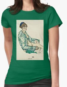 Egon Schiele - Sitting Semi Nude with Blue Hairband (1914)  Womens Fitted T-Shirt