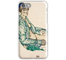 Egon Schiele - Sitting Semi Nude with Blue Hairband (1914)  iPhone Case/Skin