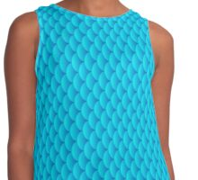 Mermaid scales, 3d effect fun bold animal print design in turquoise and blue, classic statement fashion clothing, soft furnishings and home decor  Contrast Tank