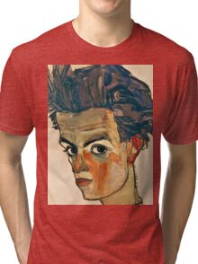 Egon Schiele - Self Portrait with Striped Shirt (1910)  Tri-blend T-Shirt