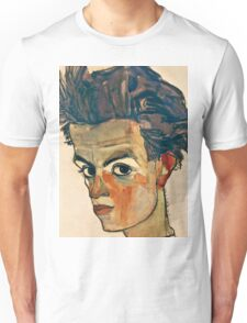 Egon Schiele - Self Portrait with Striped Shirt (1910)  Unisex T-Shirt