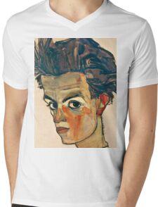 Egon Schiele - Self Portrait with Striped Shirt (1910)  Mens V-Neck T-Shirt