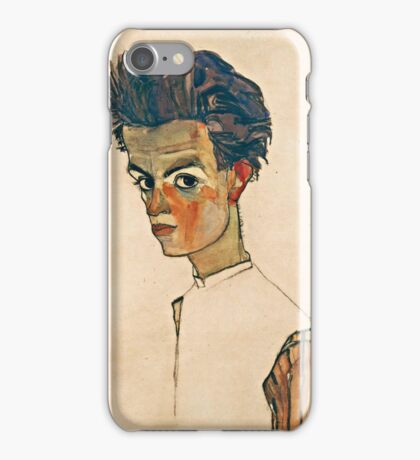 Egon Schiele - Self Portrait with Striped Shirt (1910)  iPhone Case/Skin