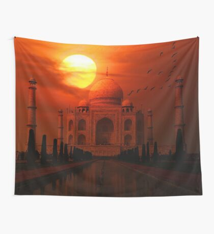 Taj Mahal Sunset Wall Tapestry