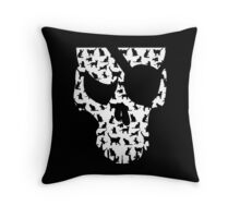 skull and cats  Throw Pillow