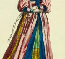 Bridal habit of a Swiss lady in 1577 Habit de noce d'une Dame Suisse 048 Sticker