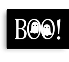 """""""Boo!"""" - Halloween, Ghosts, Black, All Hallows Eve, Simple, Contemporary Canvas Print"""