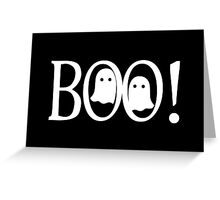 """Boo!"" - Halloween, Ghosts, Black, All Hallows Eve, Simple, Contemporary Greeting Card"
