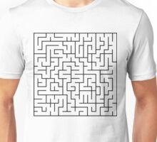 A-MAZE-ING!  Black, White, Maze, Lost, Found, Where's the Cheese? Unisex T-Shirt