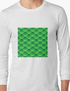 Green dragon scales 3d effect fun bold animal print design in green and emerald, classic statement fashion clothing, soft furnishings and home decor  Long Sleeve T-Shirt