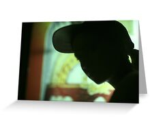 Rap hip hop singer  in bar nightclub in silhouette photograph Greeting Card