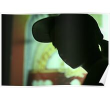 Rap hip hop singer  in bar nightclub in silhouette photograph Poster