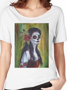 Lila day of the dead art by Renee L Lavoie Women's Relaxed Fit T-Shirt
