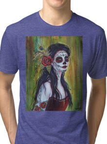 Lila day of the dead art by Renee L Lavoie Tri-blend T-Shirt