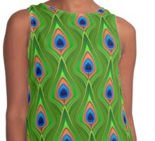 Peacock feathers, stylised 3d effect fun bold animal print design in green and purple, classic statement fashion clothing, soft furnishings and home decor  Contrast Tank