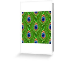 Peacock feathers, stylised 3d effect fun bold animal print design in green and purple, classic statement fashion clothing, soft furnishings and home decor  Greeting Card