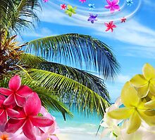 Tropical Beach and Exotic Plumeria Flowers by BluedarkArt
