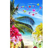 Tropical Beach and Exotic Plumeria Flowers Photographic Print