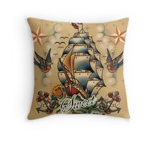 Oldschool Tattoo Home sweet Home Throw Pillow