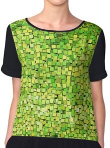 Graphic, Paint Chips, Green (Texture, Background) Chiffon Top