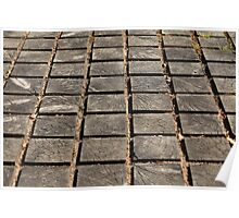 cracked paving wooden walkway Poster
