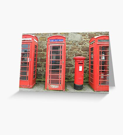 Iconic red telephone boxes with an iconic red post Greeting Card