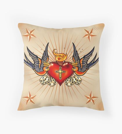 Tattoo Swallows with heart Throw Pillow