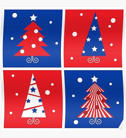 Christmas Trees design blocks icons Poster