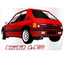 Peugeot 205 GTI 1.6 red Poster