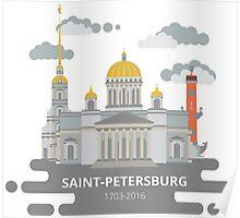 Saint-Petersburg flat cityscape. Poster
