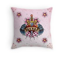 Tattoo Love Heart with wings and dagger Throw Pillow