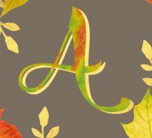 Autumn Leaf Grey Initial Monogram A Sticker