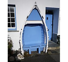 BOSCASTLE COTTAGE BLUE & WHITE BOAT BENCH SEAT CORNWALL Photographic Print