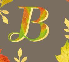 Autumn Leaf Grey Initial Monogram B Sticker